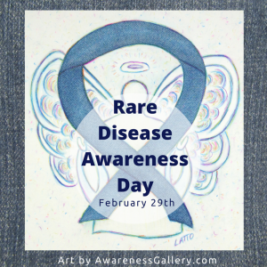 Denim Awareness Ribbon Angel Art Painting Rare Disease Awareness Day Image