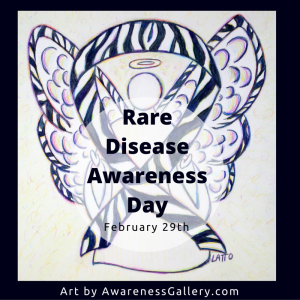 Zebra Stripes Awareness Ribbon Angel Art Painting Rare Disease Awareness Day Picture