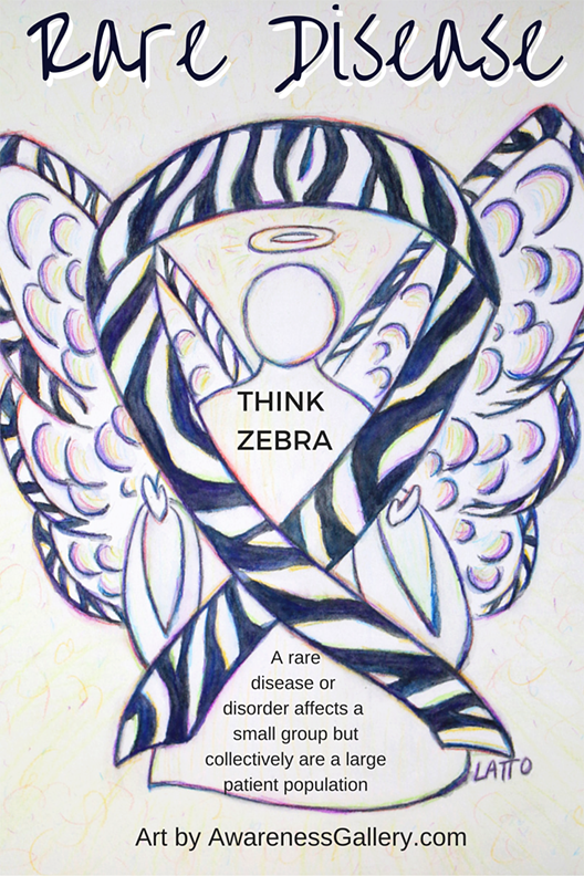 Zebra Stripes Awareness Ribbon Angel Art Painting