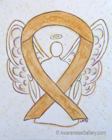 Amber Appendix Cancer Awareness Ribbon Angel Art Painting Image
