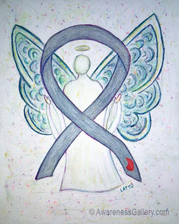 Diabetes Awareness Ribbon Gray with Red Blood Drop Angel Art Painting Image