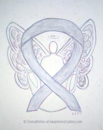 Light Gray Awareness Ribbon Angel Art Painting Image