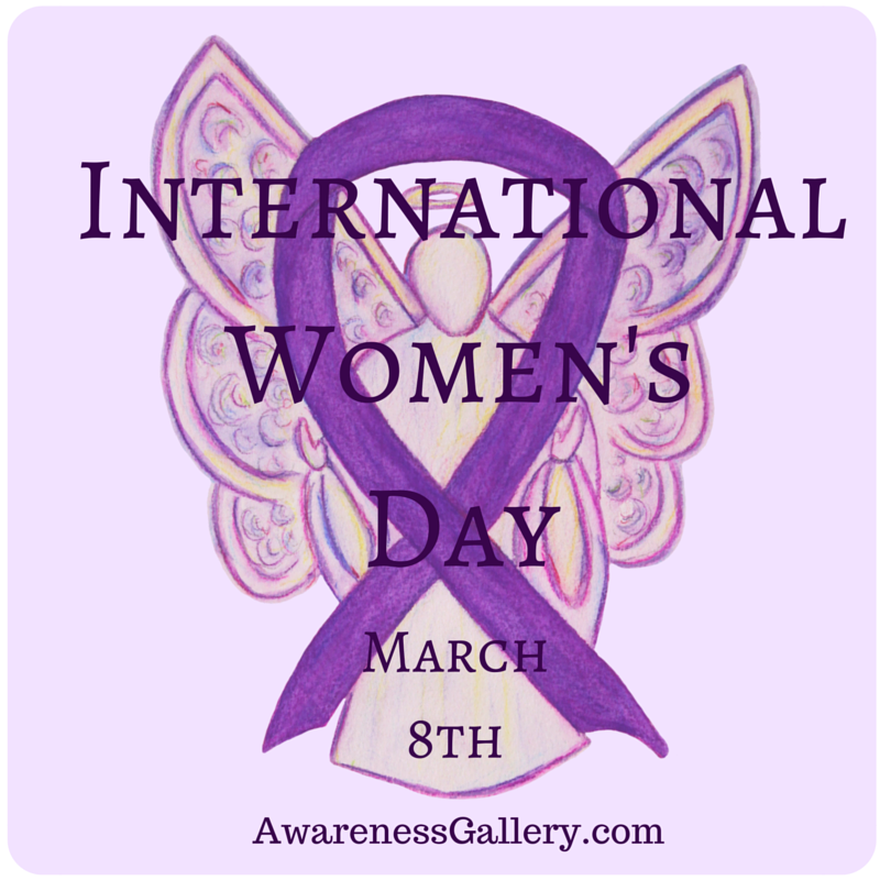 International Women's Day Purple Awareness Ribbon Angel Art