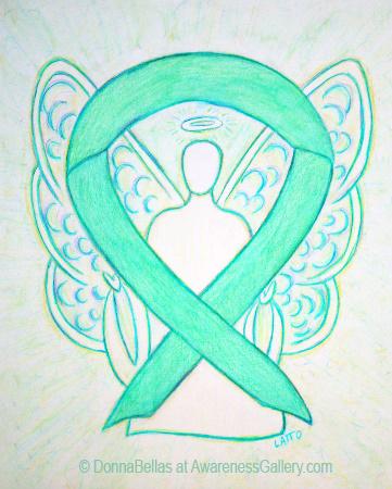 Jade Green Awareness Ribbon Angel Art Painting Image