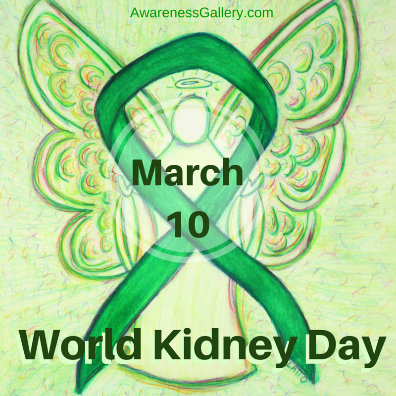 March 10 World Kidney Day Green Awareness Ribbon Angel Article