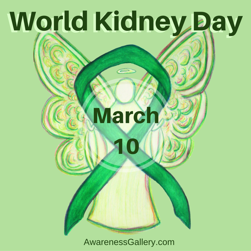 World Kidney Day Green March 10 Awareness Ribbon Angel Article
