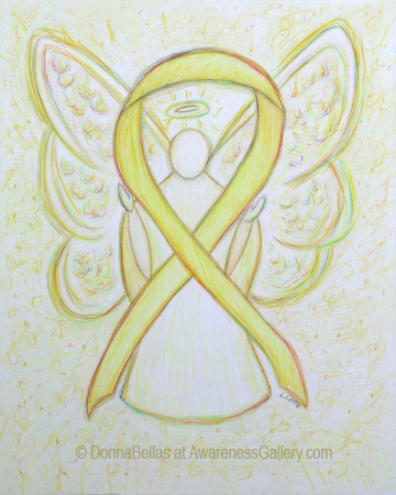 Yellow Awareness Ribbon Angel Art Painting Image