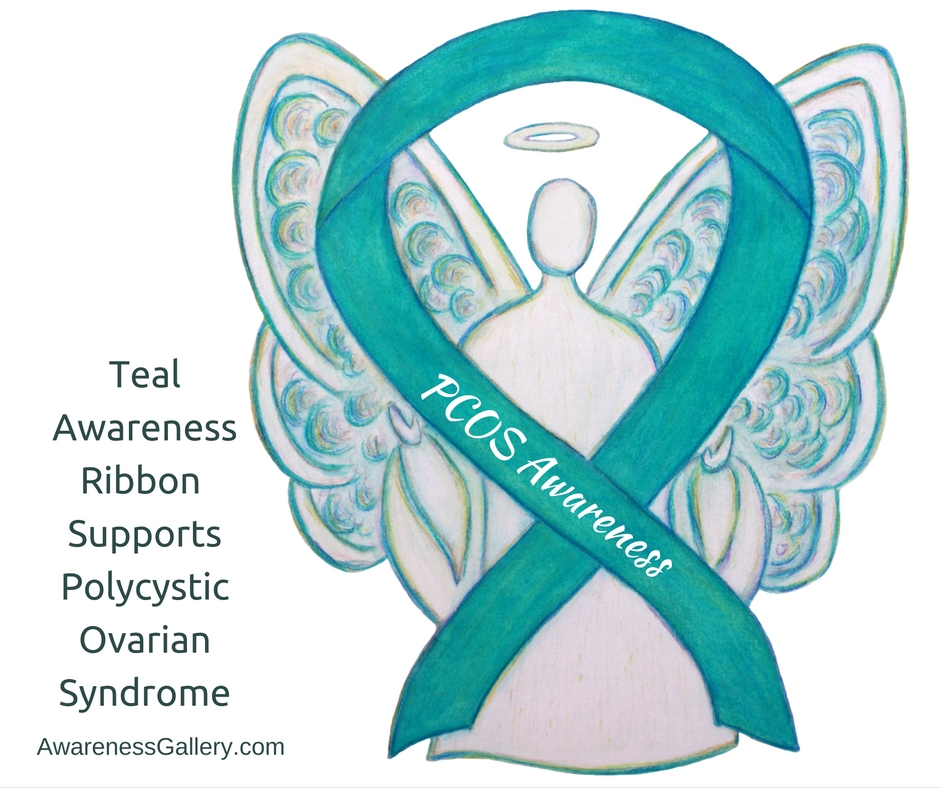 PCOS Teal Awareness Ribbon Angel