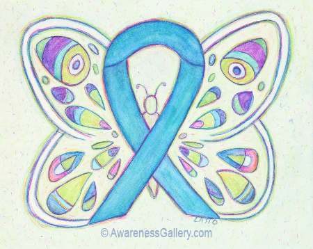 Light Blue Awareness Ribbon Butterfly Painting Art Image