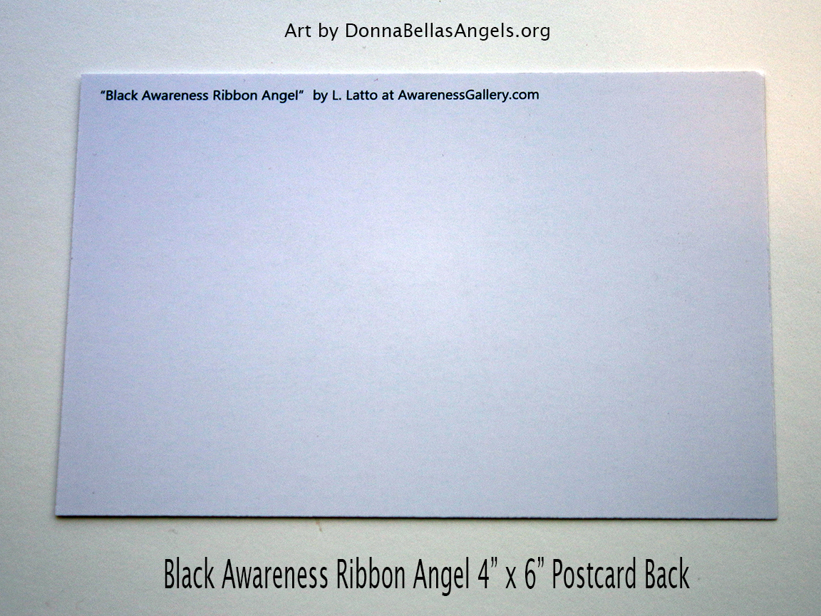 Black Awareness Ribbon Guardian Angel Art Painting Postcard (Back)