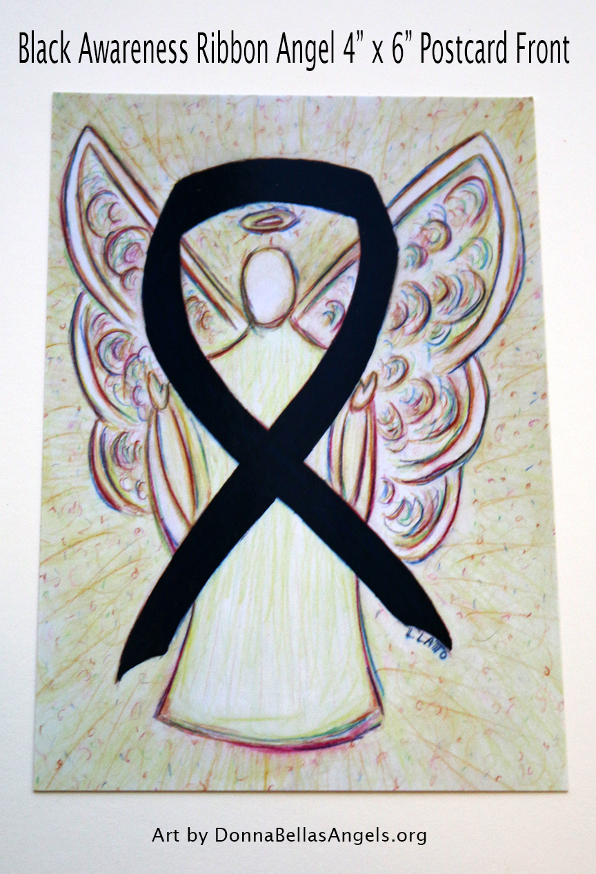 Black Awareness Ribbon Guardian Angel Art Painting Postcard (Front)