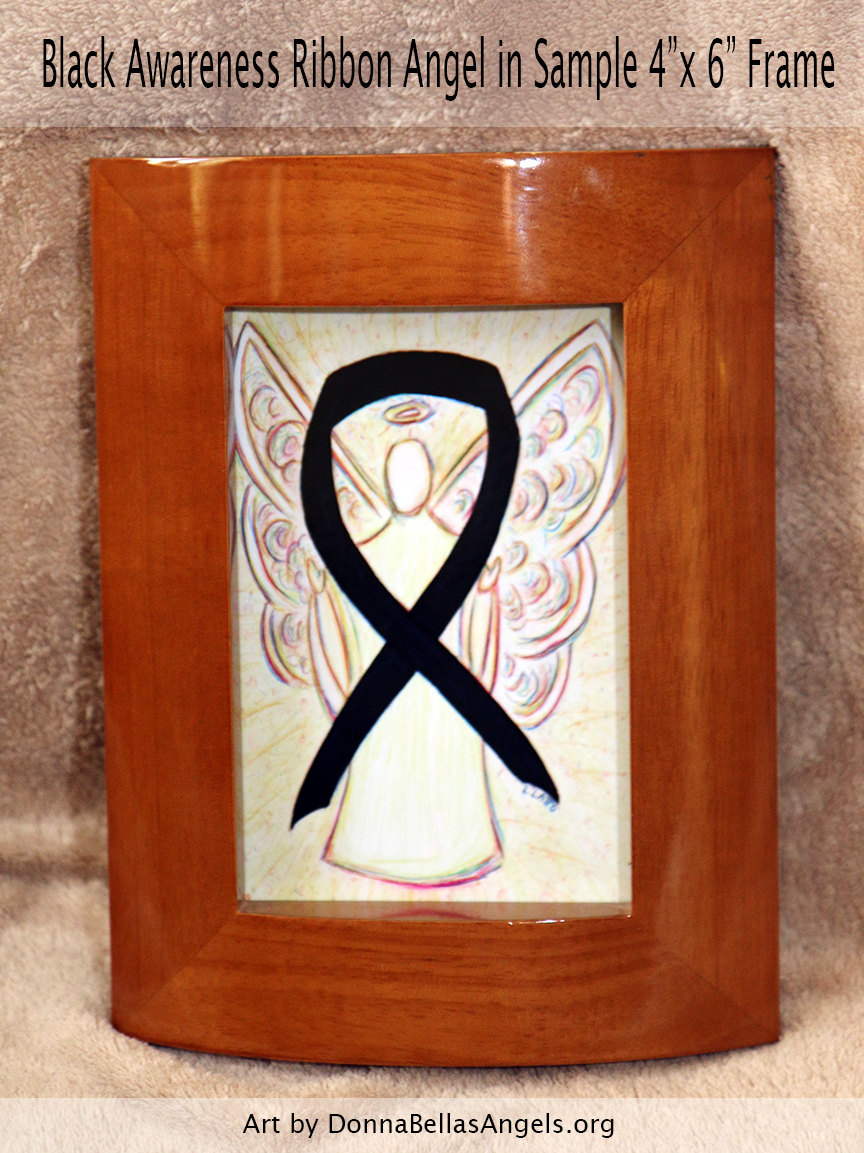 "Black Awareness Ribbon Guardian Angel Art Painting Postcard in Sample 4""X6"" Frame"