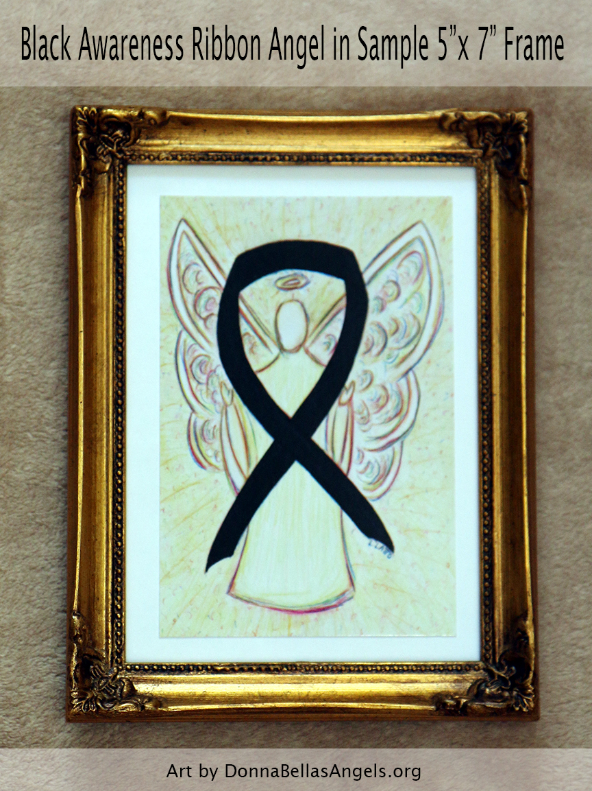 "Black Awareness Ribbon Guardian Angel Art Painting Postcard in Sample 5""X7"" Frame"
