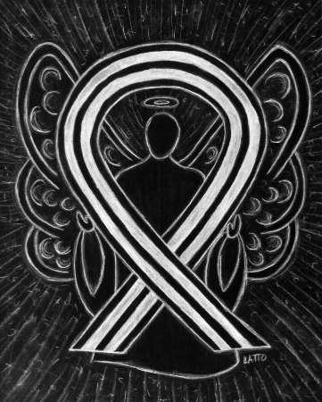 Black and White Awareness Ribbon Angel Art Painting Image
