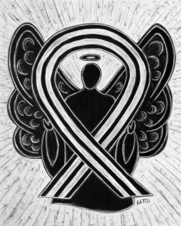 Black and White Awareness Ribbon Angel Painting Image