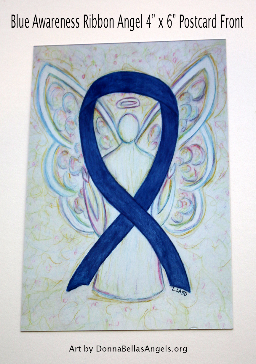 Blue Awareness Ribbon Guardian Angel Art Painting Postcard (Front)