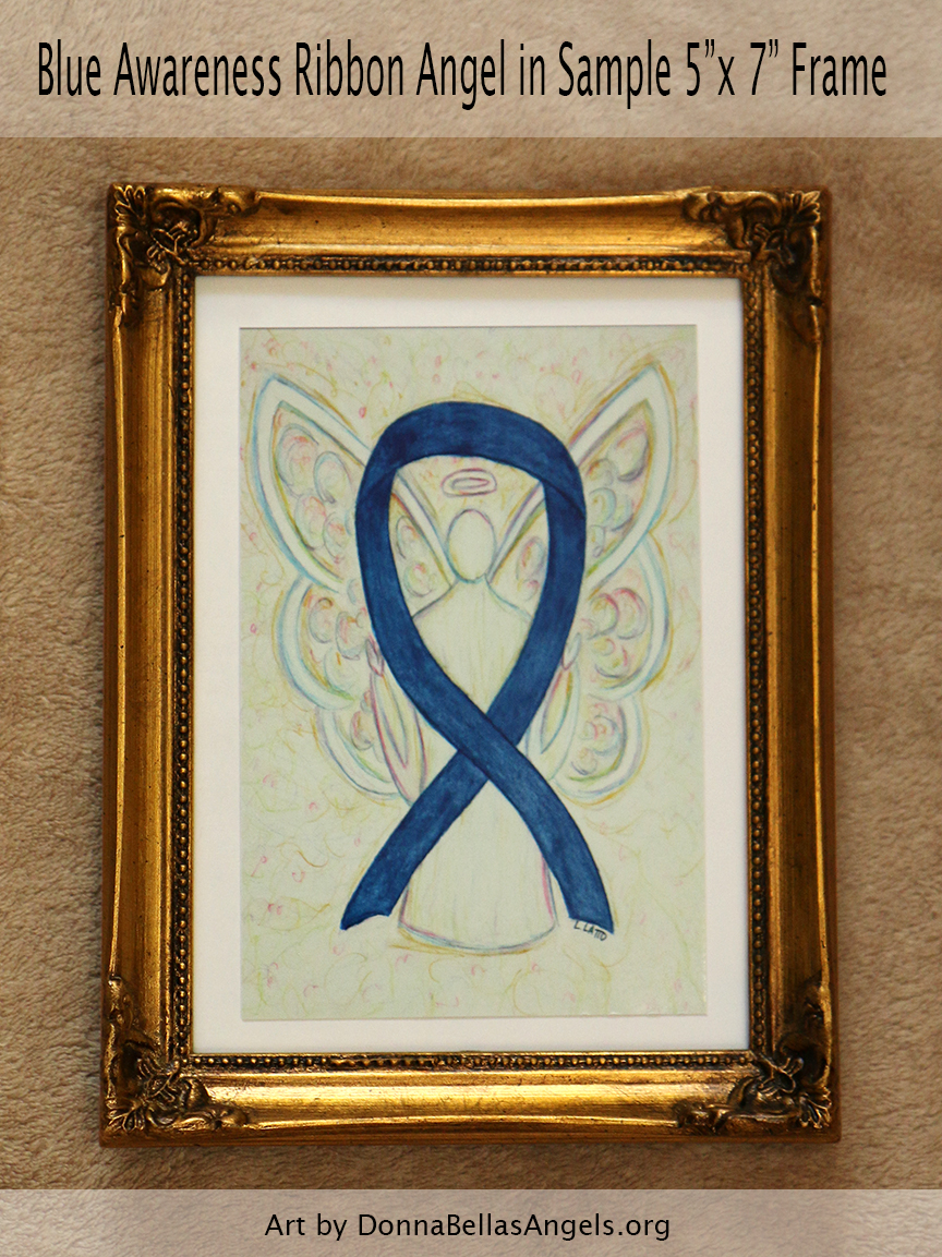 "Blue Awareness Ribbon Guardian Angel Art Painting Postcard in Sample 5""X7"" Frame"