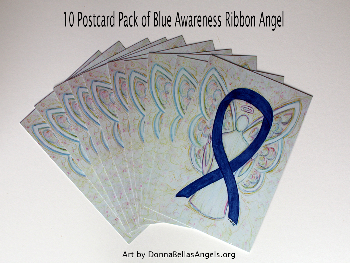 Blue Awareness Ribbon Guardian Angel Art Painting Postcards 10 Pack on Etsy