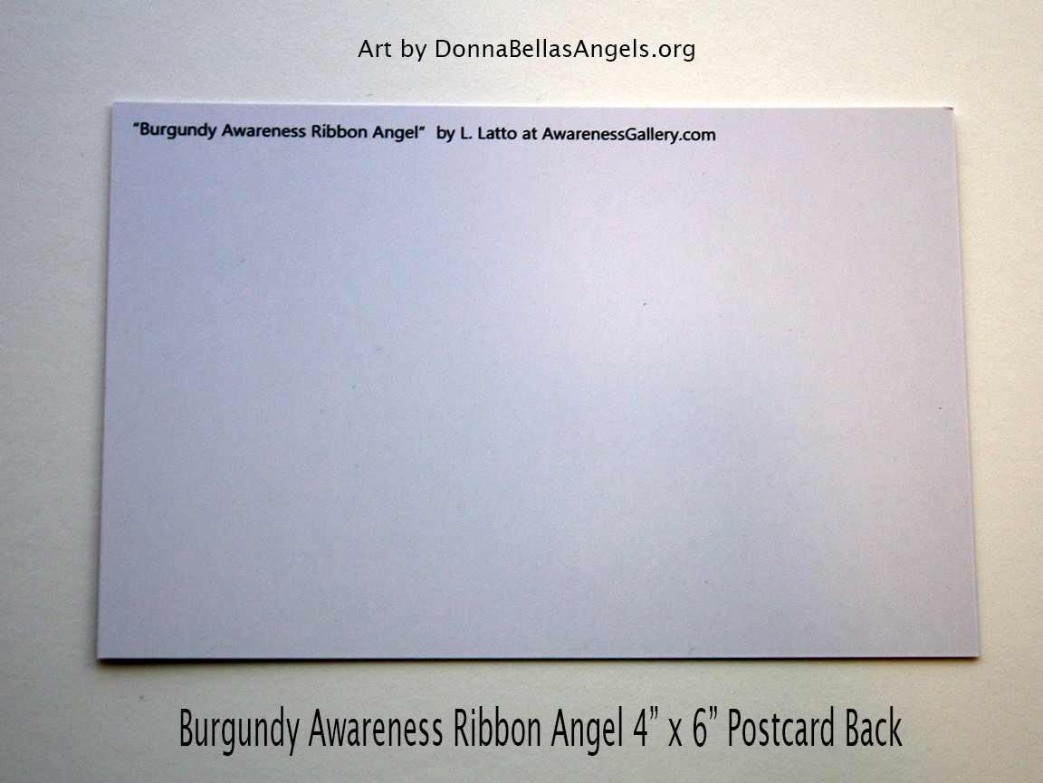 Burgundy Awareness Ribbon Guardian Angel Art Painting Postcard (Back)