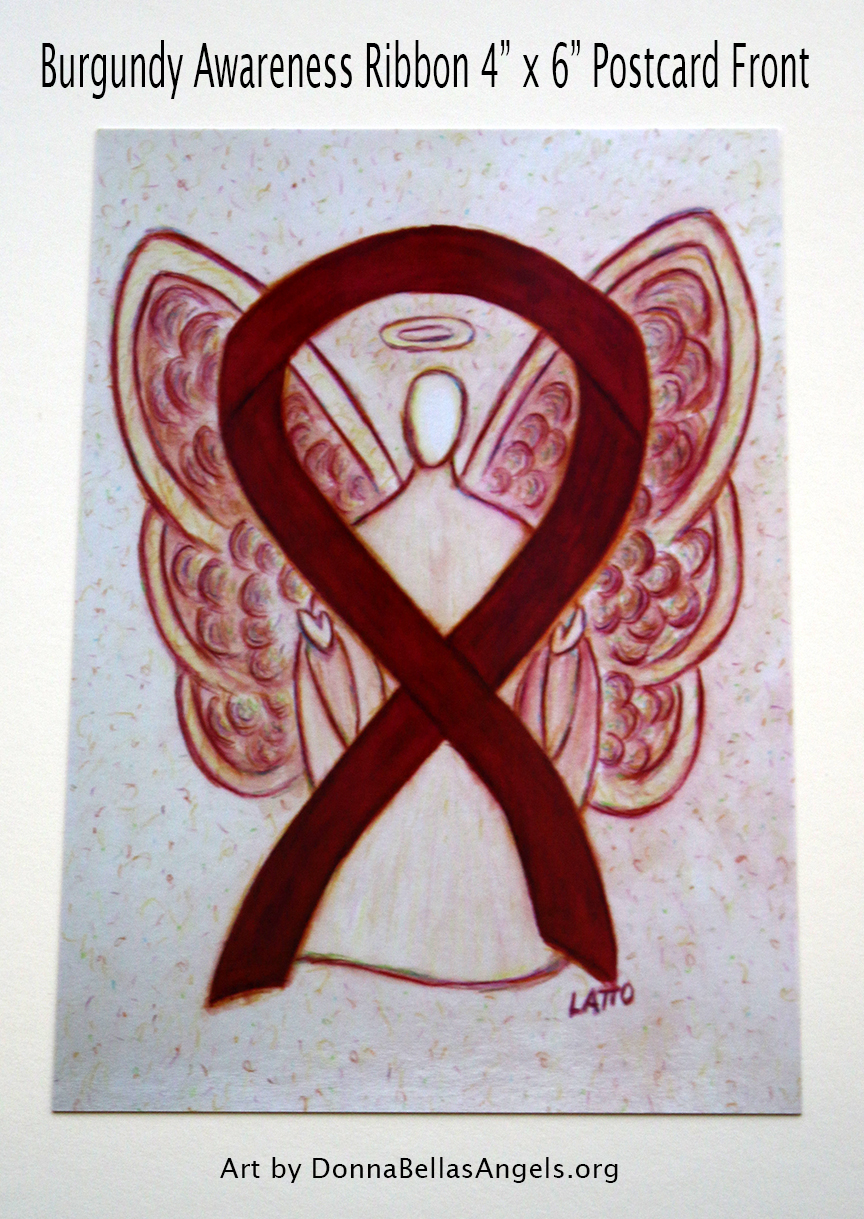 Burgundy Awareness Ribbon Guardian Angel Art Painting Postcard (Front)