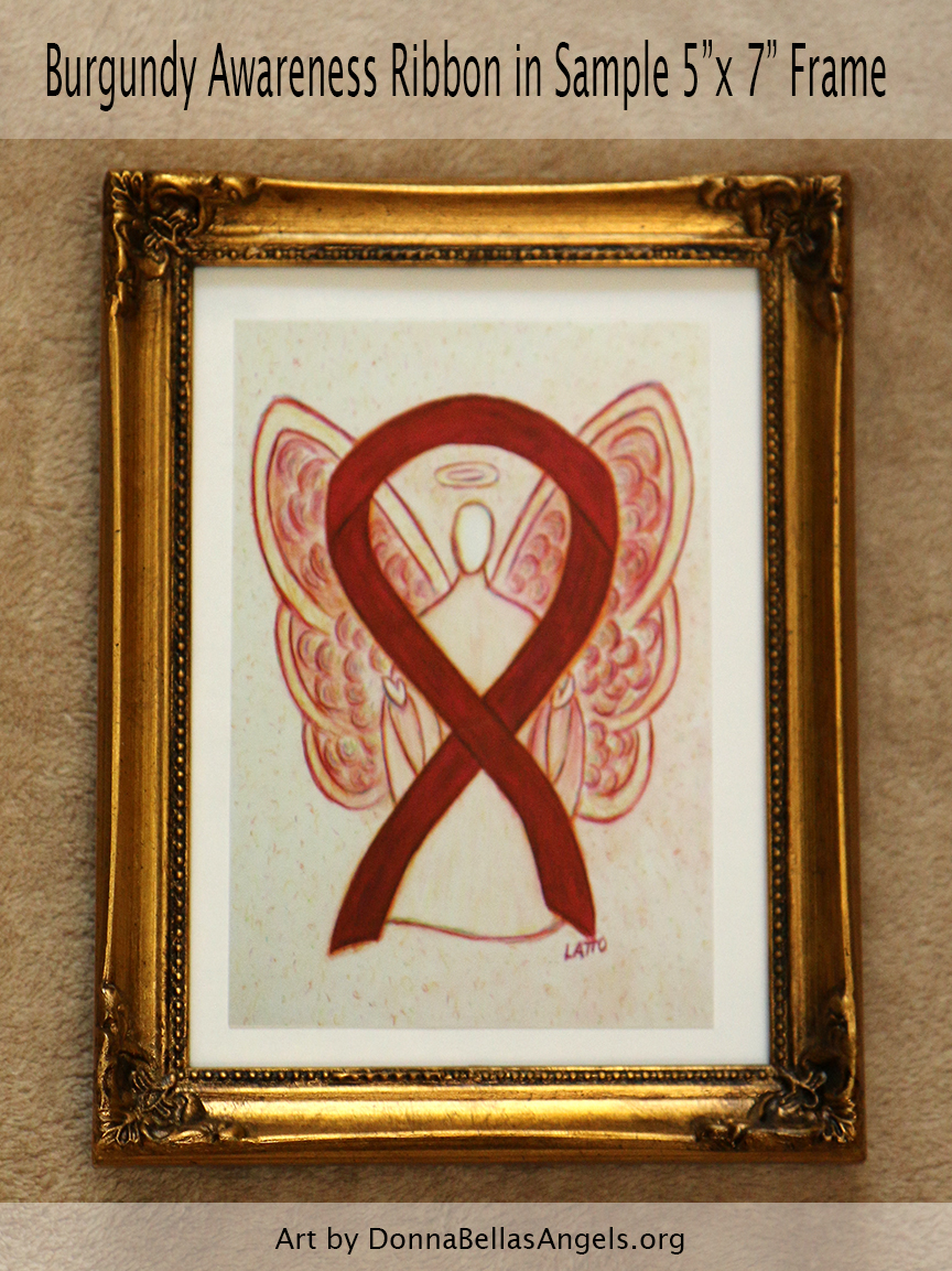 "Burgundy Awareness Ribbon Guardian Angel Art Painting Postcard in Sample 5""X7"" Frame"