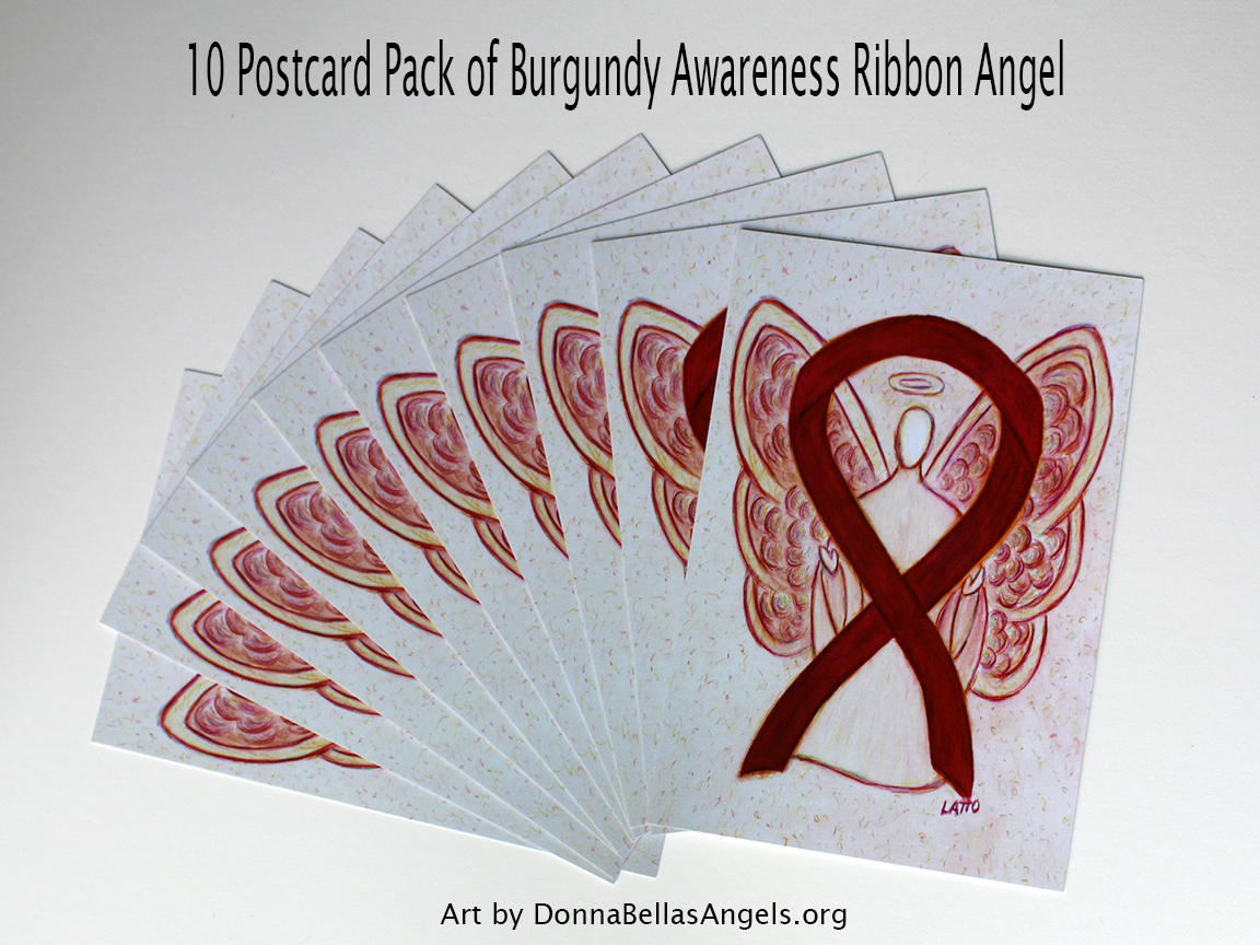Burgundy Awareness Ribbon Guardian Angel Art Painting Postcards 10 Pack on Etsy