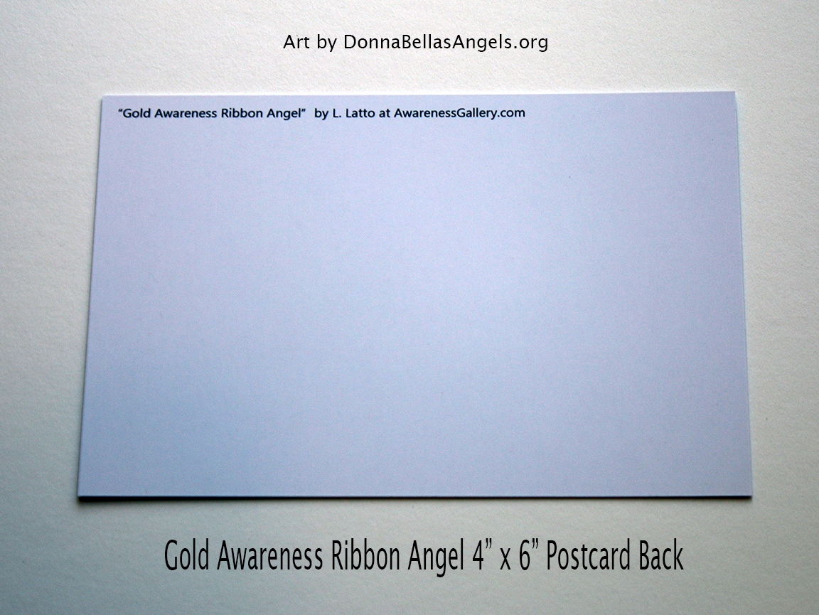 Gold Awareness Ribbon Guardian Angel Art Painting Postcard (Back) for Pediatric Cancer