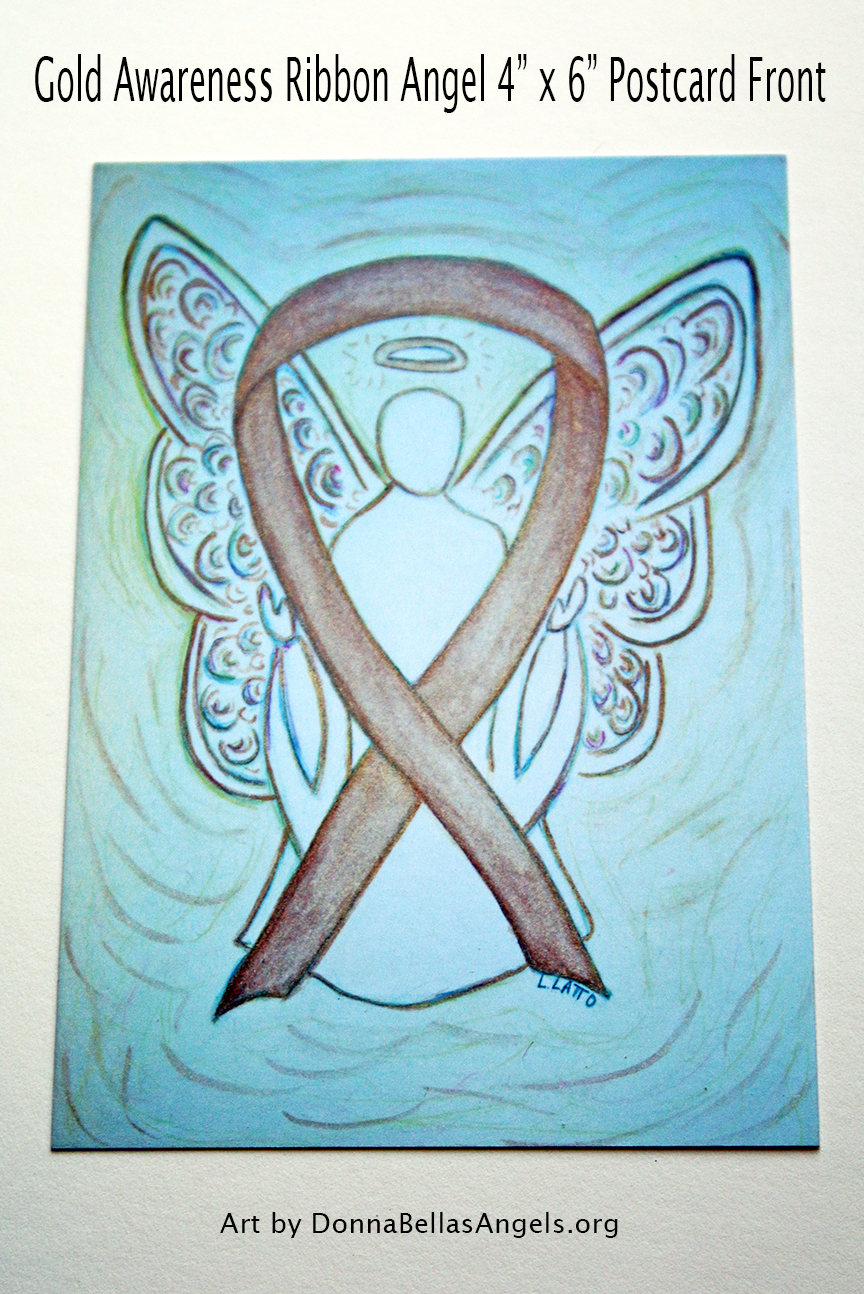 Gold Awareness Ribbon Guardian Angel Art Painting Postcard (Front) for Pediatric Cancer