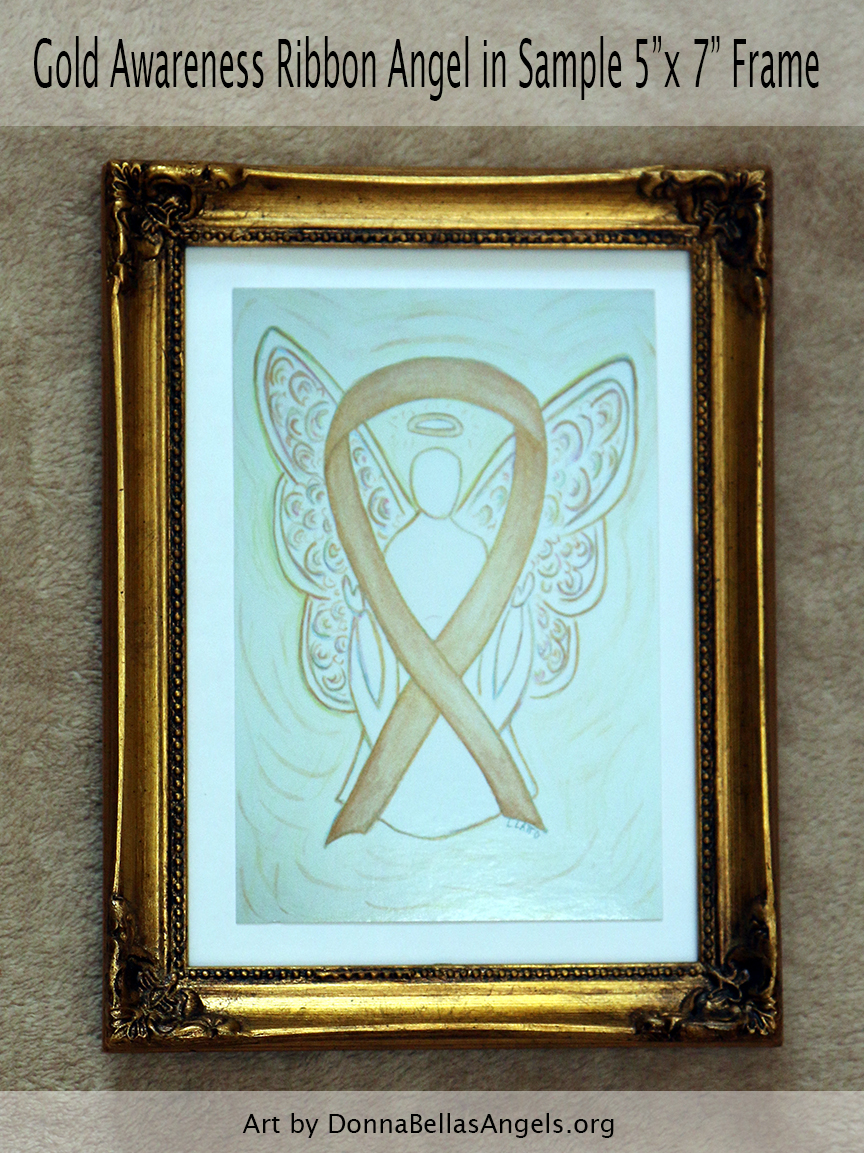 "Gold Awareness Ribbon Guardian Angel Art Painting Postcard in Sample 5""X7"" Frame for Childhood Cancer"