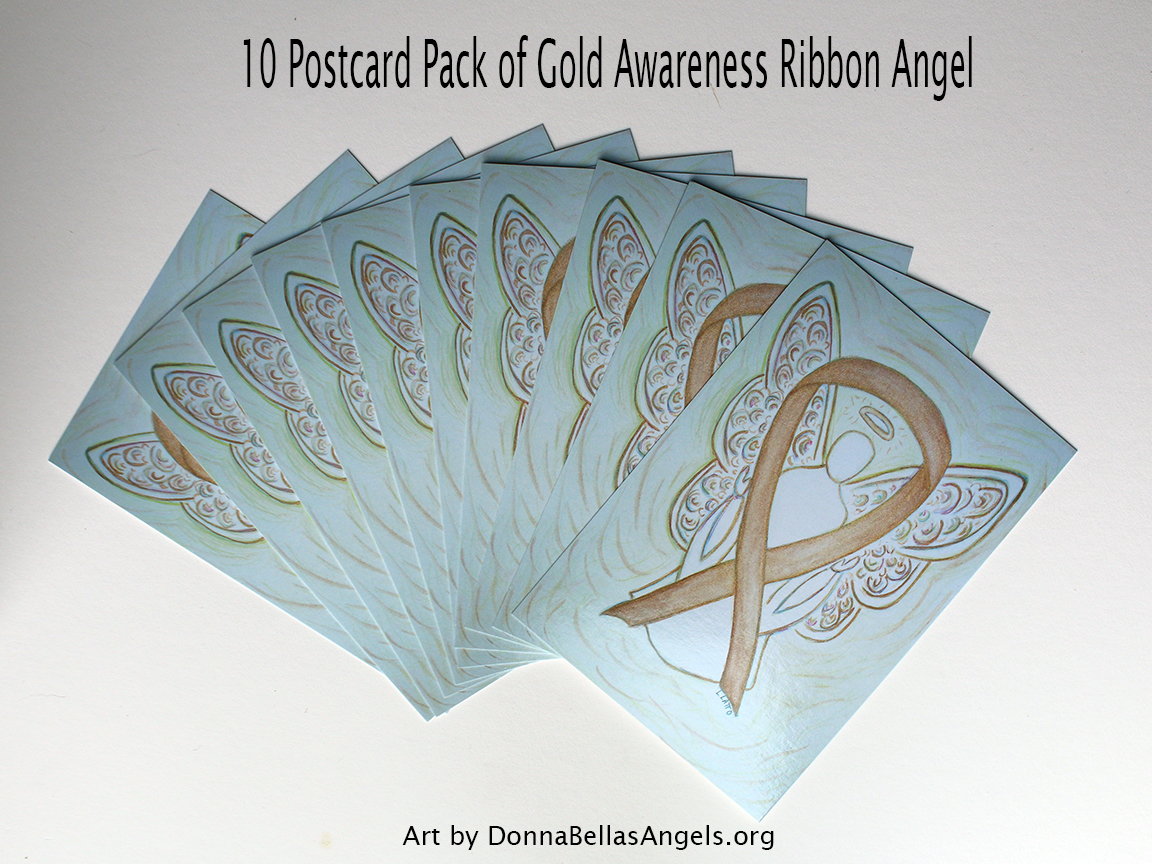 Gold Awareness Ribbon Guardian Angel Art Painting Postcards 10 Pack on Etsy for Childhood Cancer