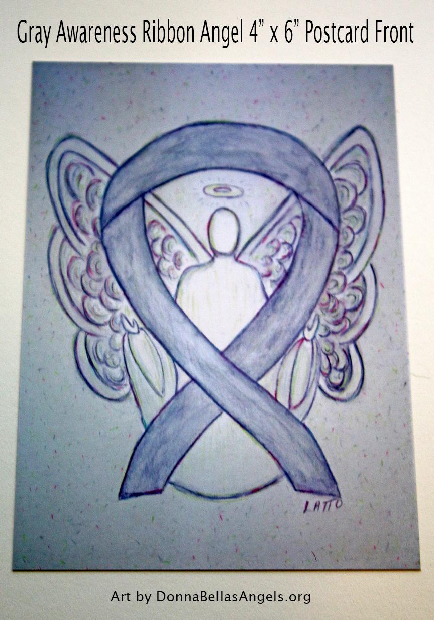 Gray Awareness Ribbon Guardian Angel Art Painting Postcard (Front)