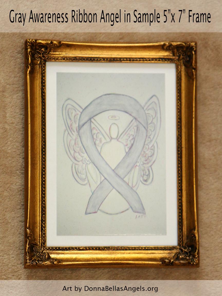 "Gray Awareness Ribbon Guardian Angel Art Painting Postcard in Sample 5""X7"" Frame"