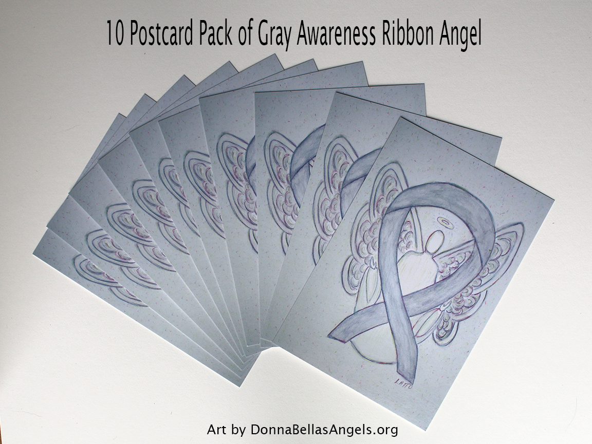 Gray Awareness Ribbon Guardian Angel Art Painting Postcards 10 Pack on Etsy