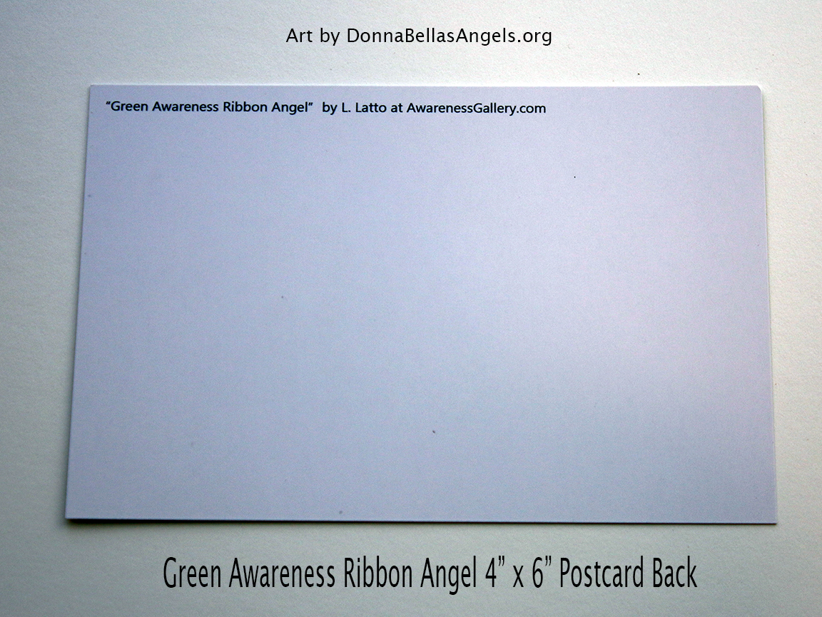 Green Awareness Ribbon Guardian Angel Art Painting Postcard (Back)