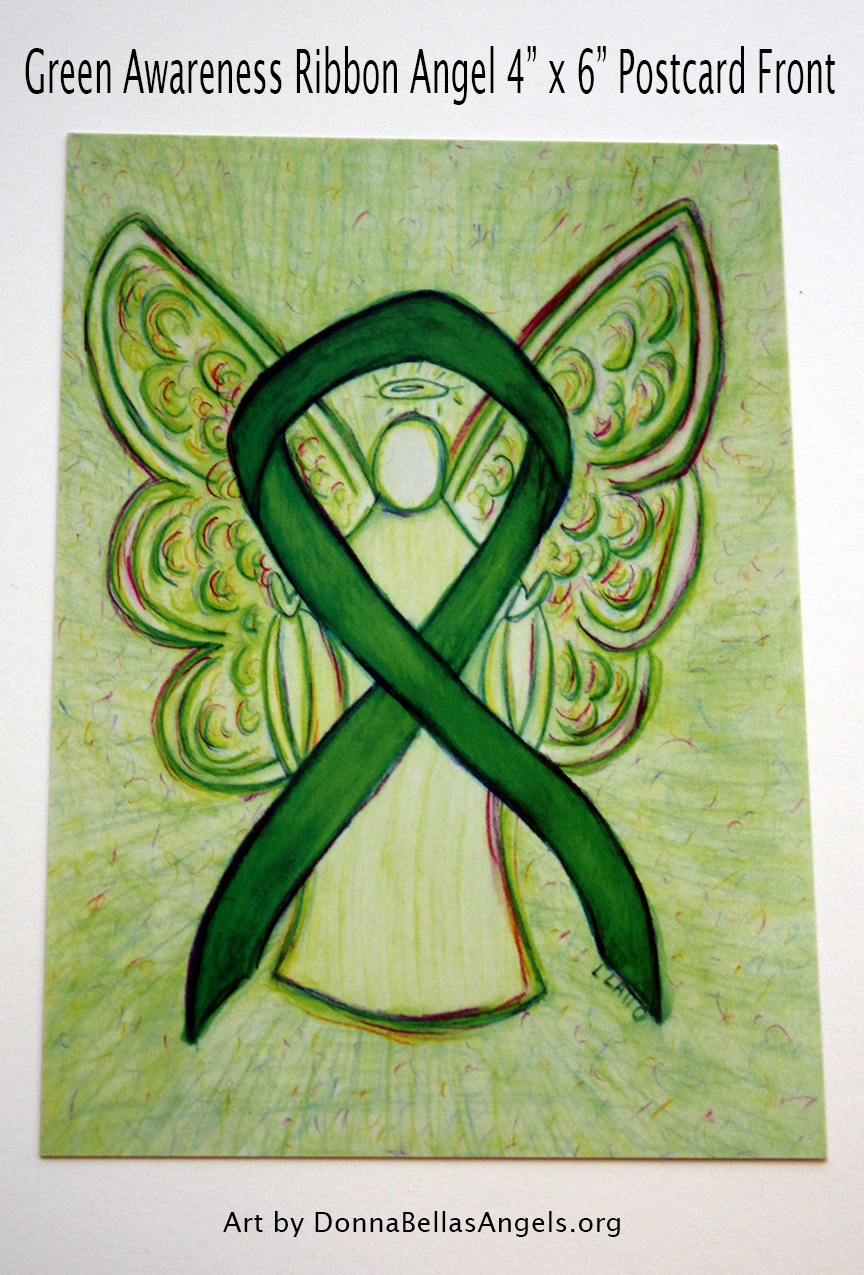 Green Awareness Ribbon Guardian Angel Art Painting Postcard (Front)