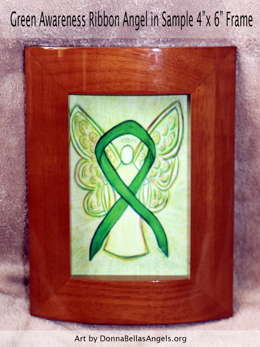 "Green Awareness Ribbon Guardian Angel Art Painting Postcard in Sample 4""X6"" Frame"