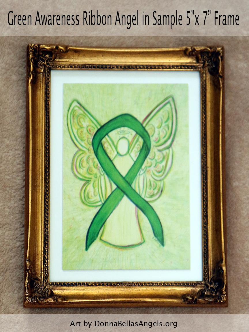 "Green Awareness Ribbon Guardian Angel Art Painting Postcard in Sample 5""X7"" Frame"
