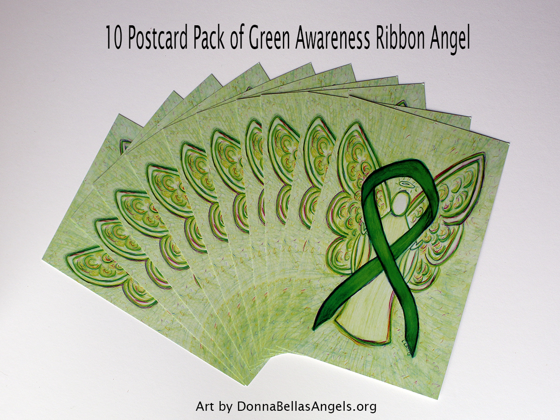 Green Awareness Ribbon Guardian Angel Art Painting Postcards 10 Pack on Etsy