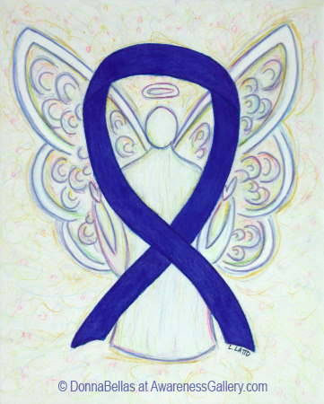 Dark Blue, Indigo, or Navy Awareness Ribbon Angel Art Painting Image