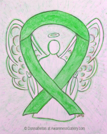 Lime Green Awareness Ribbon Angel Art Painting Image