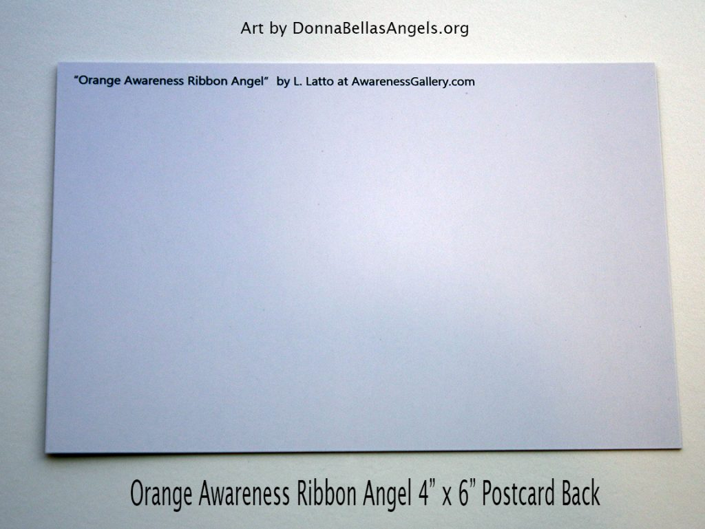 Orange Awareness Ribbon Guardian Angel Art Painting Postcard (Back)