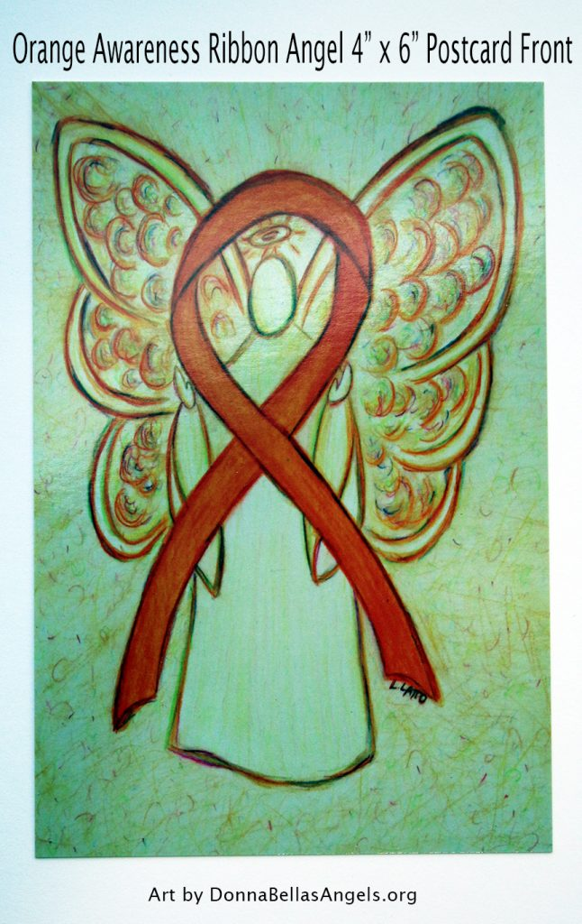 Orange Awareness Ribbon Guardian Angel Art Painting Postcard (Front)