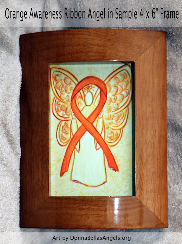 "Orange Awareness Ribbon Guardian Angel Art Painting Postcard in Sample 4""x6"" Frame"
