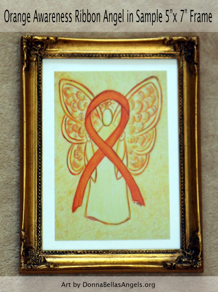 "Orange Awareness Ribbon Guardian Angel Postcard Art Painting in Sample 5""X7"" Frame"