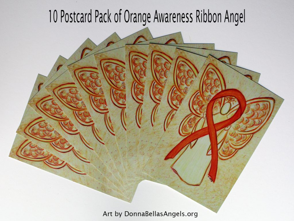 Orange Awareness Ribbon Guardian Angel Art Painting Postcards 10 Pack on Etsy