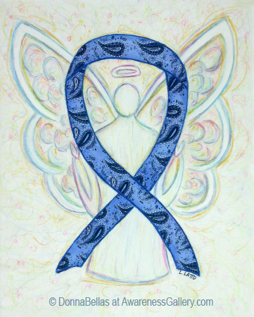 Thyroid Disease Awareness Ribbon Paisley Blue Angel Art Pictures