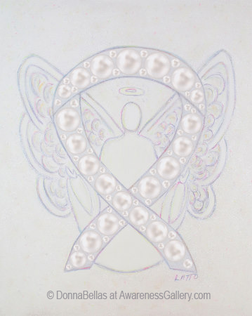 White Pearl Awareness Ribbon Angel Art Painting Image