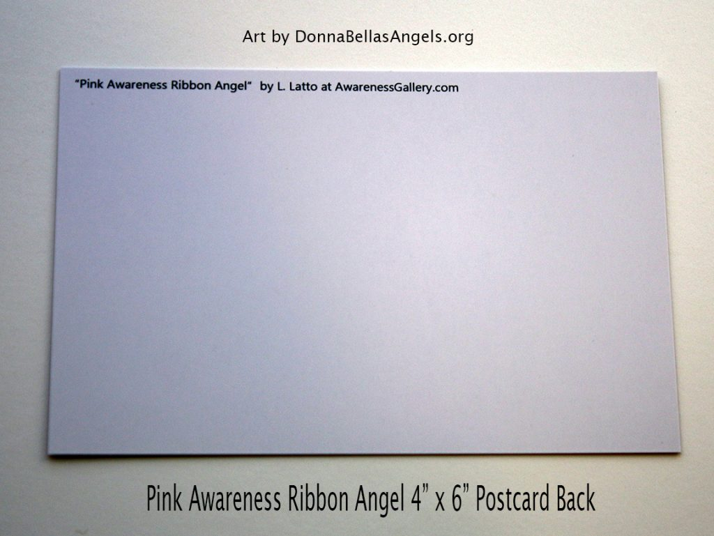 Pink Awareness Ribbon Guardian Angel Art Painting Postcard (Back) for Breast Cancer