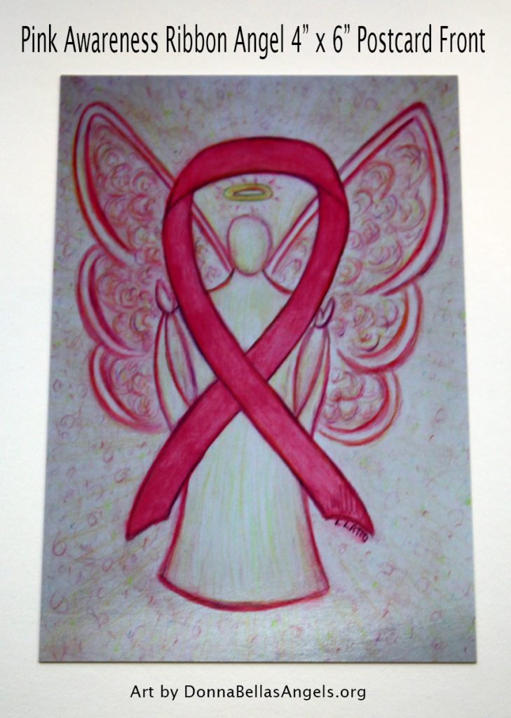 Pink Awareness Ribbon Guardian Angel Art Painting Postcard (Front) for Breast Cancer