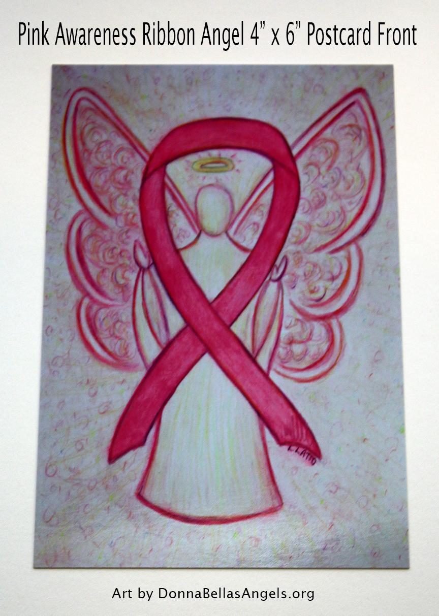 Pink Awareness Ribbon Guardian Angel Art Postcards on Etsy for Breast Cancer